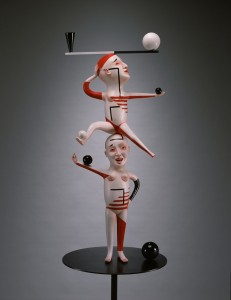 "Patti Warashina (2012) From the series ""Conversations"" Low-fire clay, underglaze, glaze, steel.   Photo Credit:  Rob Vinnedge"