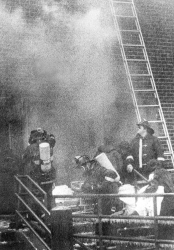 Purchase firefighters work at the scene of the Stouffers Hotel fire in Harrison N.Y. December 4, 1980 Frank Becerra jr/The Journal News