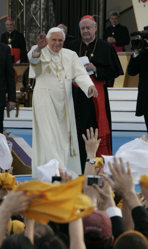 Pope Benedict XVI and Cardinal Edward Egan, greet the youth during the rally with Seminarians and Young People at St. Joseph's Seminary in Yonkers, April 19, 2008.  Mark Vergari/The Journal News