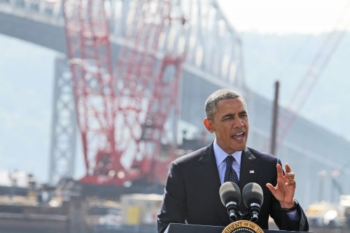 With the Tappan Zee Bridge as a backdrop, President Barack Obama speaks from the Washington Irving Boat Club in Tarrytown on May 14.  Seth Harrison/The Journal News