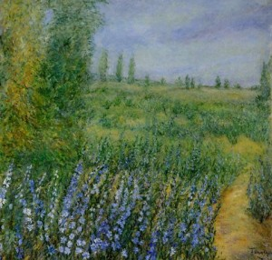 Delphiniums and Green Fields 48x48
