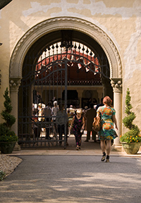 The main gate to the Spanish Courtyard at the Rosen House Museum at Caramoor  in Katonah, New York.