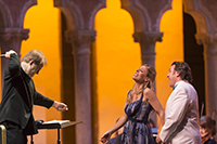Georgia Jarman, soprano and John Osborn, tenor, with Will Crutchfield, conductor and Director of Opera, perform  Rigoletto by Giuseppe Verdi in the Venetian Theater at Caramoor in Katonah New York on July 19, 2014. 