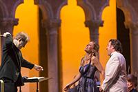 Georgia Jarman, soprano and John Osborn, tenor, with Will Crutchfield, conductor and Director of Opera, perform  Rigoletto by Giuseppe Verdi in the Venetian Theater at Caramoor in Katonah New York on July 19, 2014. (photo by Gabe Palacio)
