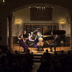Edward Arron & Friends performance featuring Jeewon Park, piano, Tessa Lark, violin, Che-Hung Chen, viola, and  Edward Arron, cello, in the Music Room of the Rosen House at Caramoor in Katonah New York on November 22, 2015.  (photo by Gabe Palacio)