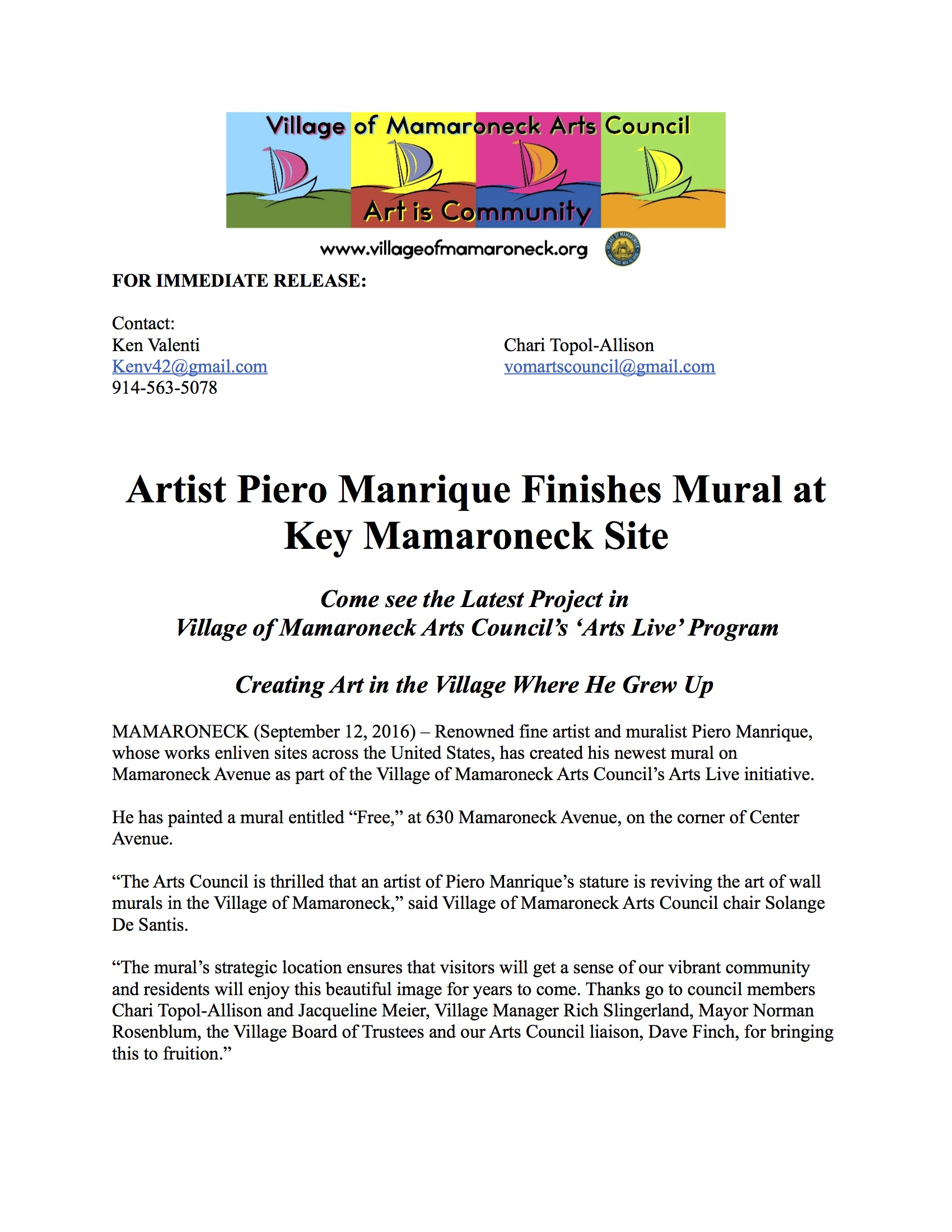 Village of Mamaroneck Arts Council Mural | ArtsWestchester