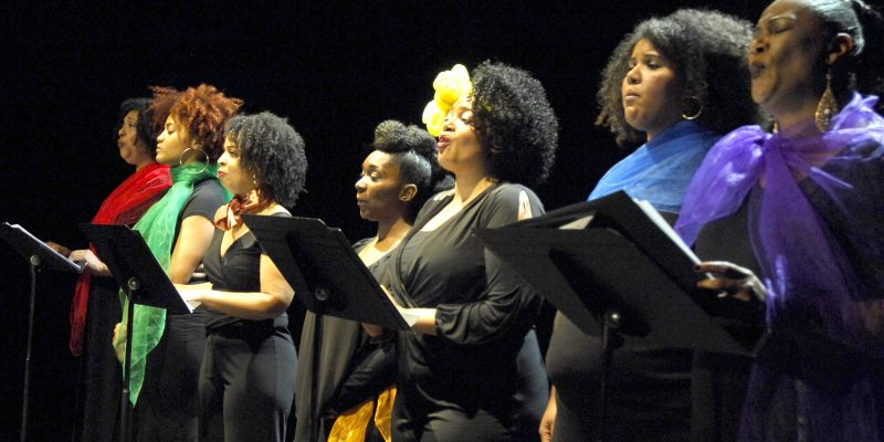 From a performance of for colored girls who have considered suicide when the rainbow is enuf (photo credit: Tom Schopper / photo courtesy of Irvington Town Hall Theater)