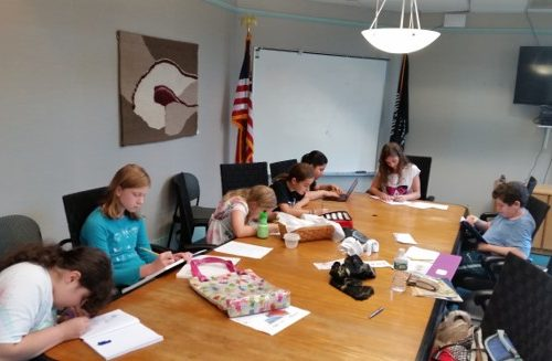 Beginning writers class, guided by teacher Diana Spyropulos. (photo courtesy of Linda Mancia)