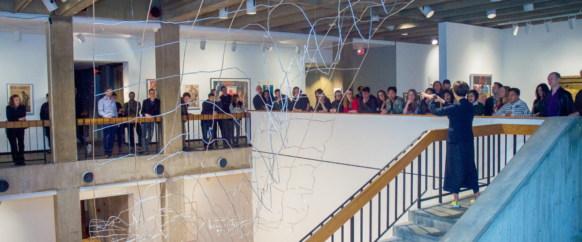 "Curator Miwako Tezuka gives a tour of ""Maya Lin: A River Is a Drawing""(photo courtesy of Hudson River Museum)"