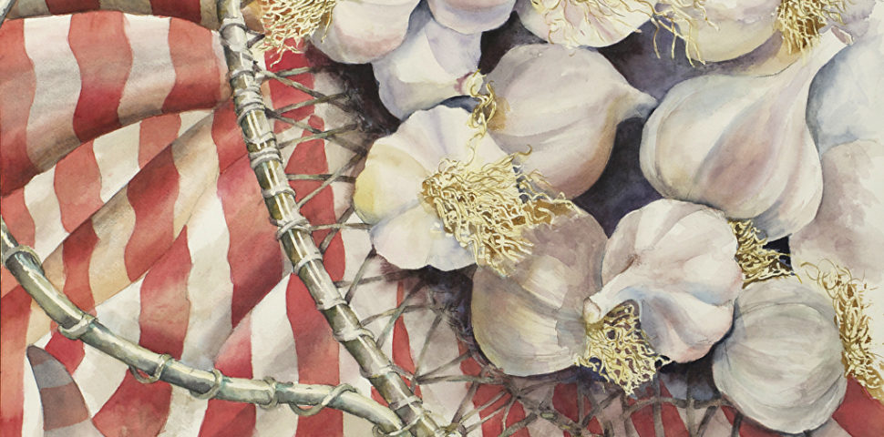 "Detail of ""Garlic in a Wire Basket"" by Sally Franklin"