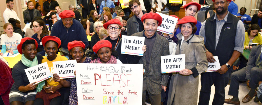 Arts supporters wearing ArtsWestchester hats at a previous budget hearing (photo credit: Barry Mason)