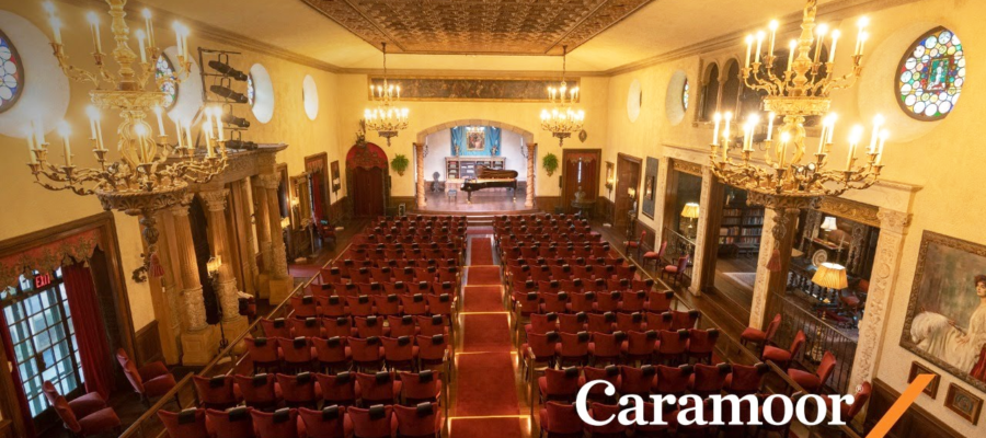 Screenshot of Caramoor's empty Music Room, in which concerts are being live-streamed throughout the month of April