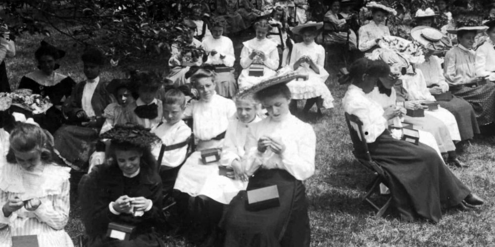 The Lyndhurst Sewing School pupils practice their sewing in the orchards behind the Bowling Alley, where the school held classes, circa 1905 (photo courtesy of Lyndhurst Mansion)