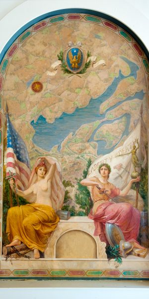 Mural of Lady Justice and Lady Liberty in ArtsWestchester's gallery