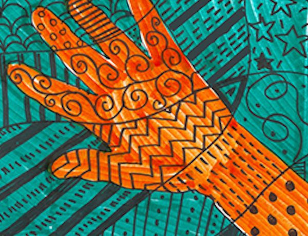 A drawing of a hand with orange, aqua and black colors and patterns.