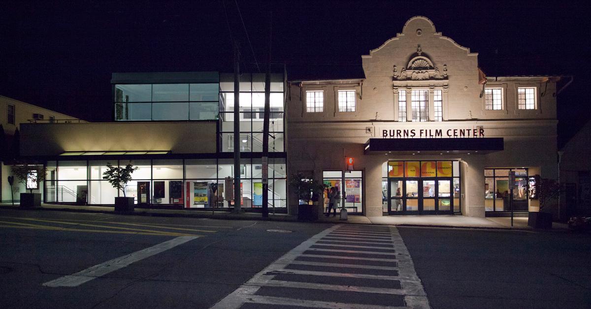 Jacob Burns Film Center at night