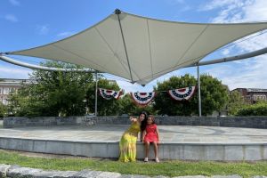 Actress Sweta Keswani with daughter Ismara on the Pierson Park stage (photo courtesy of River's Edge Theater Company)